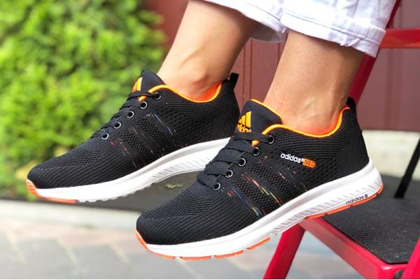 Женские кроссовки Adidas Neo черные с оранжевым