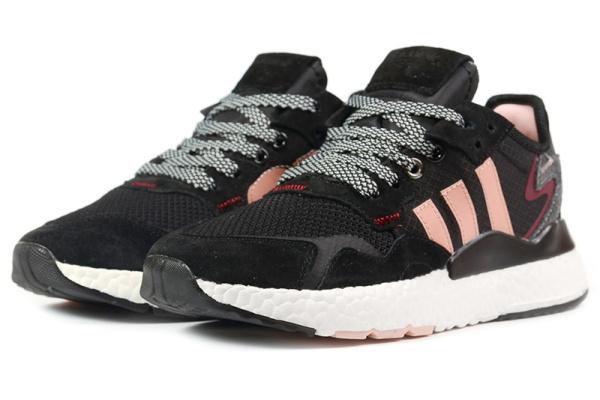 Женские кроссовки Adidas Nite Jogger BOOST черные с розовым