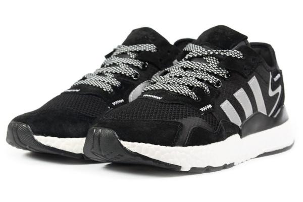 Женские кроссовки Adidas Nite Jogger BOOST черные с серым