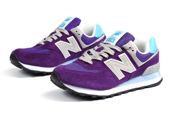 Женские кроссовки New Balance 574 фиолетовые с голубым