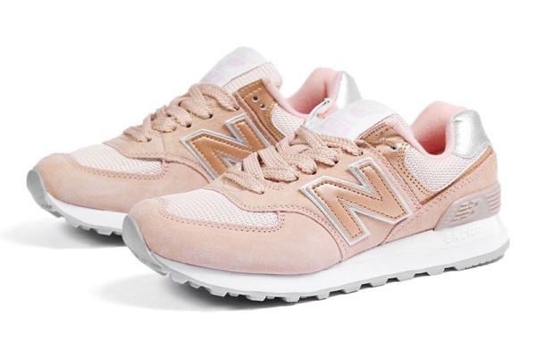 Женские кроссовки New Balance 574 персиковые