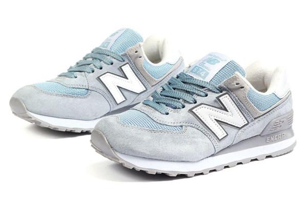 Женские кроссовки New Balance 574 серо-голубые