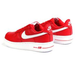 Женские кроссовки Nike Air Force 1 красные с белым