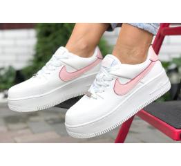 Купить Женские кроссовки Nike Air Force 1 Sage Low белые с розовым