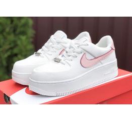 Купить Женские кроссовки Nike Air Force 1 Sage Low белые с розовым в Украине