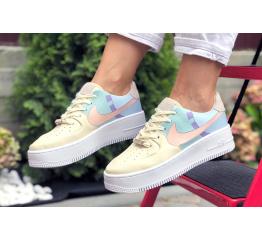 Купить Женские кроссовки Nike Air Force 1 Sage Low бежевые с голубым