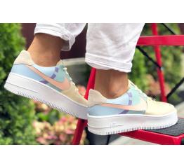 Купить Женские кроссовки Nike Air Force 1 Sage Low бежевые с голубым в Украине