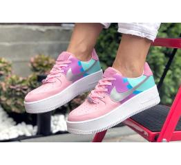 Купить Женские кроссовки Nike Air Force 1 Sage Low розовые с фиолетовым