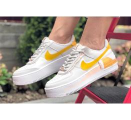 Купить Женские кроссовки Nike Air Force 1 Shadow белые с оранжевым