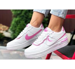 Купить Женские кроссовки Nike Air Force 1 Shadow белые с розовым