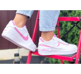 Купить Женские кроссовки Nike Air Force 1 Shadow белые с розовым в Украине