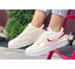 Купить Женские кроссовки Nike Air Force 1 Shadow бежевые с розовым