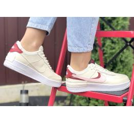 Купить Жіночі кросівки Nike Air Force 1 Shadow бежеві з рожевим в Украине