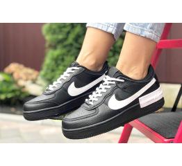 Купить Жіночі кросівки Nike Air Force 1 Shadow чорні з білим