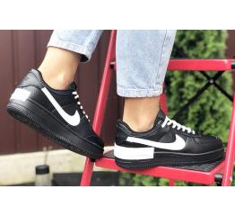 Купить Женские кроссовки Nike Air Force 1 Shadow черные с белым в Украине