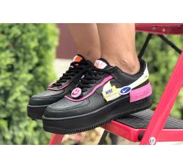 Купить Женские кроссовки Nike Air Force 1 Shadow черные с розовым