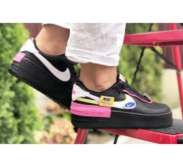 Купить Женские кроссовки Nike Air Force 1 Shadow черные с розовым в Украине