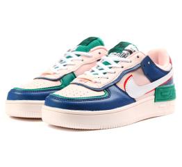 Купить Женские кроссовки Nike Air Force 1 Shadow розовые с синим и зеленым