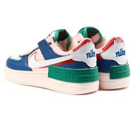 Купить Женские кроссовки Nike Air Force 1 Shadow розовые с синим и зеленым в Украине