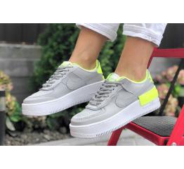 Купить Женские кроссовки Nike Air Force 1 Shadow серые с неоново-зеленым