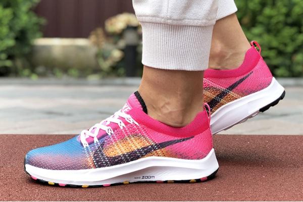 Женские кроссовки Nike Air Zoom малиновые с оранжевым и синим