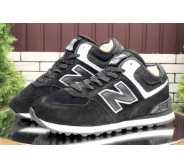 Купить Жіночі високі кросівки зимові New Balance 574 Mid Fur чорні з білим