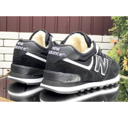 Купить Женские высокие кроссовки на меху New Balance 574 Mid Fur черные с белым в Украине