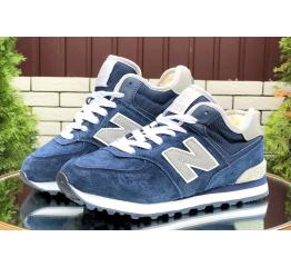 Купить Женские высокие кроссовки на меху New Balance 574 Mid Fur синие с серым