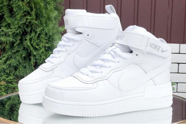 Женские высокие кроссовки на меху Nike Air Force 1 High Utility Shadow белые