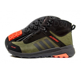 Купить Мужские ботинки на меху Adidas Terrex Green зеленые с черным