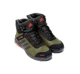 Купить Мужские ботинки на меху Adidas Terrex Green зеленые с черным в Украине