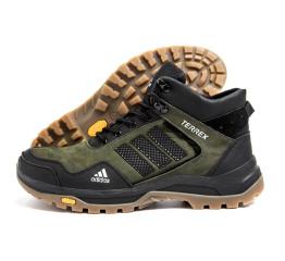Купить Мужские ботинки на меху Adidas Terrex темно-зеленые с черным