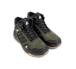 Купить Мужские ботинки на меху Adidas Terrex темно-зеленые с черным в Украине