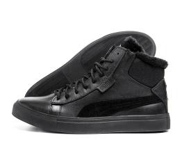 Купить Чоловічі черевики зимові Puma Black Leather чорні