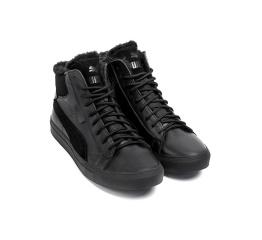 Купить Чоловічі черевики зимові Puma Black Leather чорні в Украине