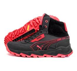 Купить Чоловічі черевики зимові Puma чорні з червоним