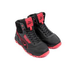 Купить Чоловічі черевики зимові Puma чорні з червоним в Украине
