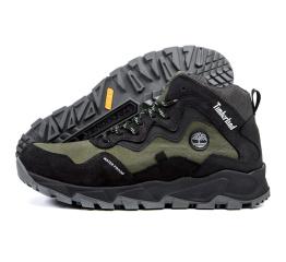 Купить Чоловічі черевики зимові Timberland чорні з зеленим