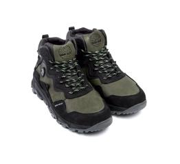 Купить Чоловічі черевики зимові Timberland чорні з зеленим в Украине