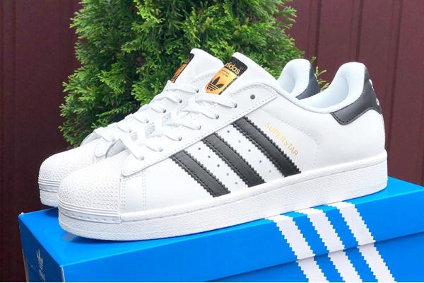 Мужские кроссовки Adidas Originals Superstar белые с черным