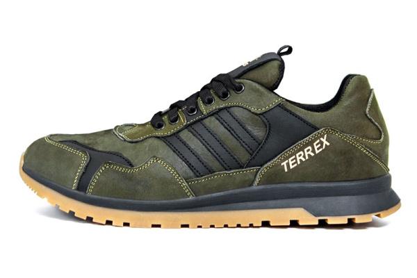 Мужские кроссовки Adidas Terrex зеленые с черным
