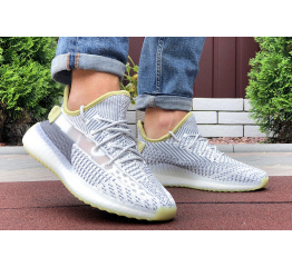 Купить Чоловічі кросівки Adidas Yeezy Boost 350 сірі з лаймовим в Украине