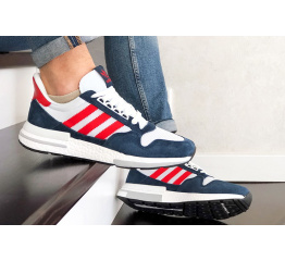 Купить Мужские кроссовки Adidas Zx 500 Rm темно-синие с белым и красным в Украине