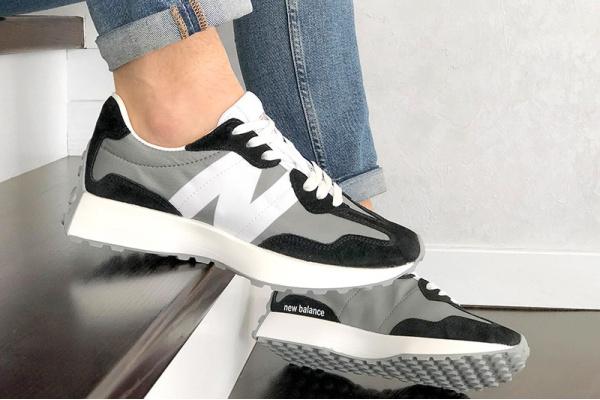 Мужские кроссовки New Balance 327 серые с черным