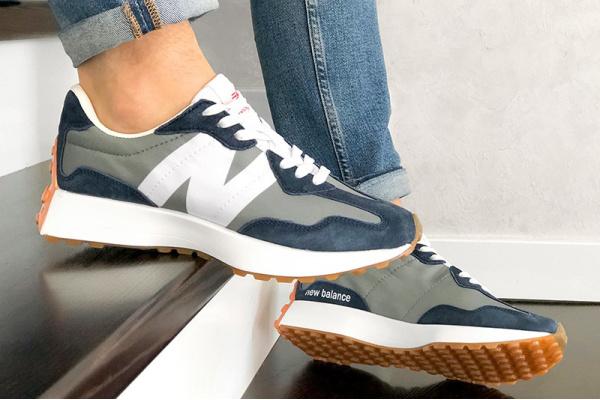 Мужские кроссовки New Balance 327 серые с синим