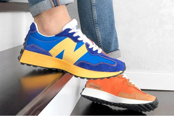 Мужские кроссовки New Balance 327 синие с желтым