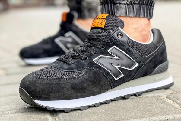 Мужские кроссовки New Balance 574 черные с оранжевым