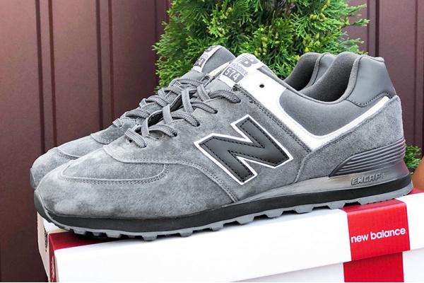 Мужские кроссовки New Balance 574 серые с черным (grey/black)