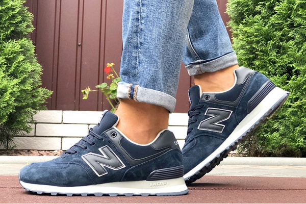 Мужские кроссовки New Balance 574 темно-синие (dark blue)