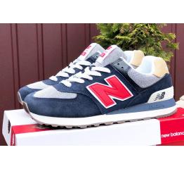 Купить Мужские кроссовки New Balance 574 темно-синие с белым и красным